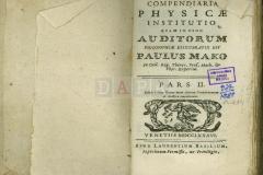 Compendiaria Physicae institutio quaminusum auditorum philosophiae elucubratus est Paulus Mako, pars II., Venetiis, 1786